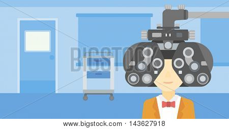 An asian woman undergoing an eye examination while visiting optometrist at the medical office. Vector flat design illustration. Horizontal layout.
