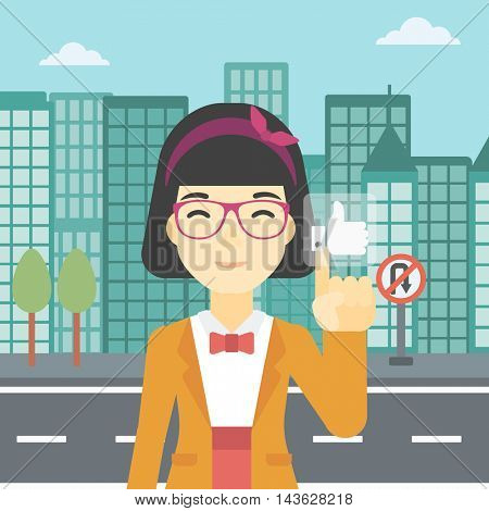 An asian young woman pressing like button. Woman pressing modern social button with thumb up. Woman pressing social network button. Vector flat design illustration. Square layout.