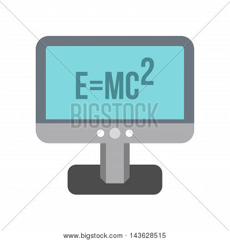 Computer monitor with the Theory of Relativity formula icon in flat style on a white background