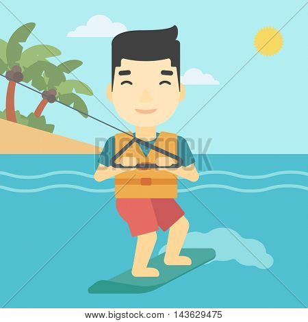 An asian sportsman wakeboarding on the sea. Wakeboarder making tricks. Man studying wakeboarding. Young man riding wakeboard. Vector flat design illustration. Square layout.