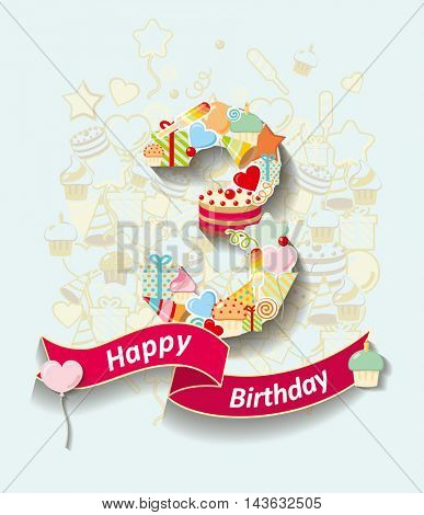 Card invitation with  number and ribbon. Happy Birthday 3 year