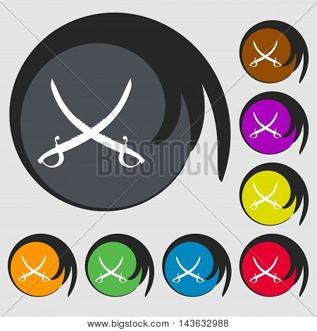 Crossed Saber Sign Icon. Symbols On Eight Colored Buttons. Vector