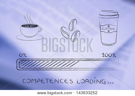 Coffee Icons With Progress Bar Loading Competences