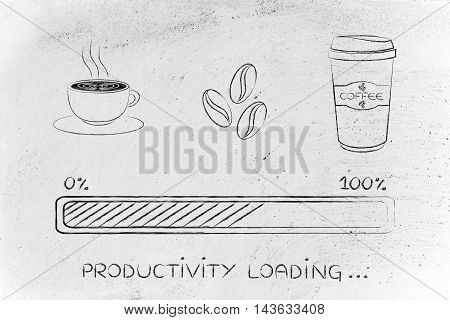 Coffee Icons With Progress Bar Loading Productivity