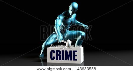 Get Rid of Crime and Remove the Problem 3D Illustration Render