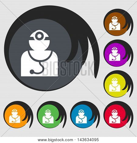 Doctor With Stethoscope Around His Neck Sign Icon. Symbols On Eight Colored Buttons. Vector