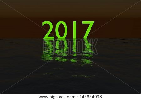 Green glowing 2018 on the sea during night rendered illustration