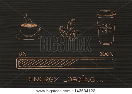 Coffee Icons With Progress Bar Loading Awakeness, Energy Version