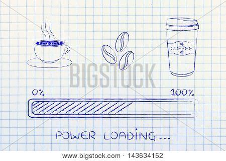 Coffee Icons With Progress Bar Loading Power