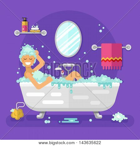 Vector flat style illustration of beautiful woman having a relaxing bubble bath in bathtub and washing her hair. Bathroom interior: mirror, shelf for soap and cream, towel, sponge, water tap.