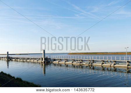 Sluice On Oostkade Van Den Oever, Wieringen Afsluitdijk The Netherlands