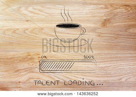 Coffee Cup & Progress Bar Loading Talent