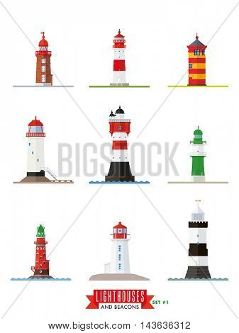 Flat design lighthouses and beacons vector icons collection 1.