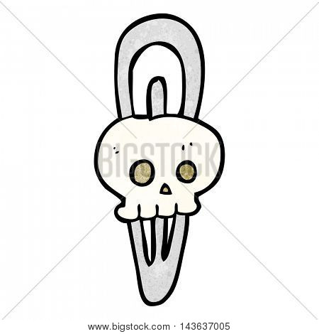 freehand textured cartoon skull hairclip