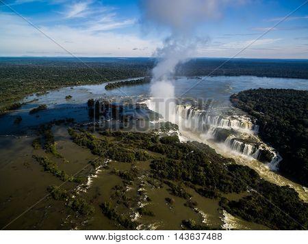 Aerial View of Iguazu Falls, Brazil - Argentina