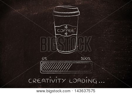 Coffee Tumbler And Progress Bar Loading Creativity