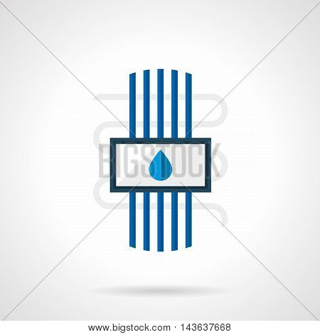 Heated floor water system with blue pipes and drop sign. Underfloor heating installing services, construction and renovation works. Single flat color design vector icon