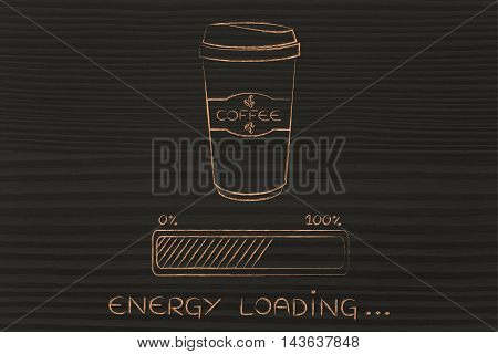 Coffee Tumbler And Progress Bar Loading Energy