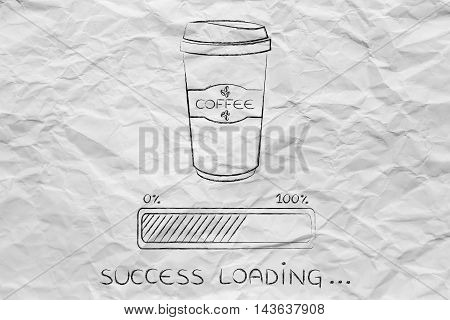 Coffee Tumbler And Progress Bar Loading Success