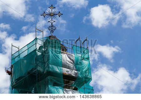 Tower of the Greek Catholic Church in scaffolding