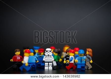 Orvieto Italy - November 22th 2015:  Star Wars Lego Stormtroopers minifigure near a people. Lego is a popular line of construction toys manufactured by the Lego Group