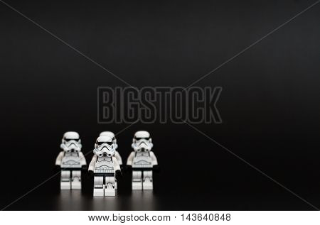 Orvieto Italy - November 15th 2015: Star Wars Lego Stormtroopers minifigures. Lego is a popular line of construction toys manufactured by the Lego Group
