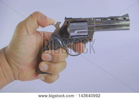 Pistol Revolver Handgun Isolated On White Background. artillery fire. poster