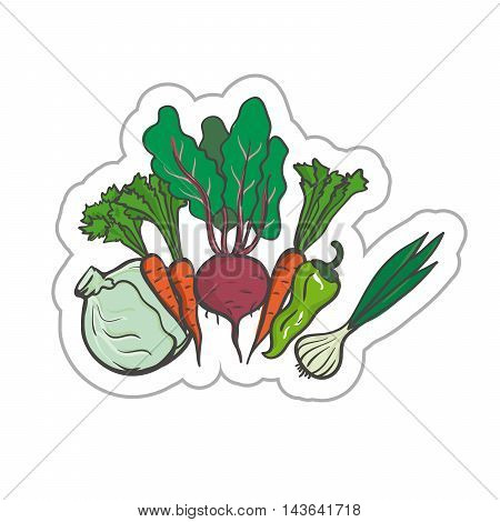 Vegetables illustration. Vegetables EPS10. Vegetables colored. Vegetables flat. Vegetables art. Vegetables label. Vegetables simple.