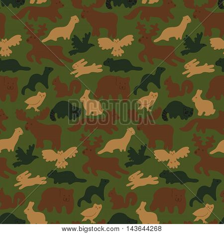 Seamless camouflage background with wild forest animals isolated on white