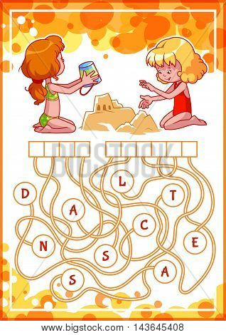 Educational puzzle game with kids and sand castle. Find the hidden word. Cartoon vector illustration.