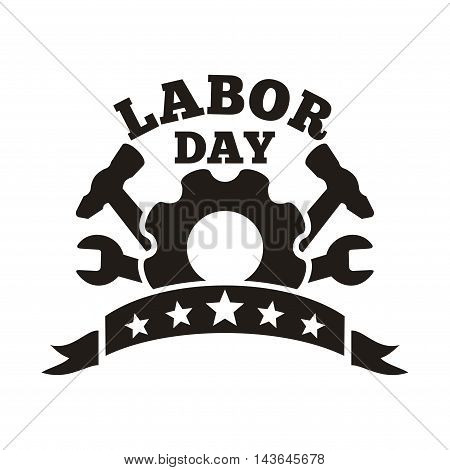 Labor Day logo. International Workers' Day. May Day. Workers' Day card. Vector illustration isolated on white background