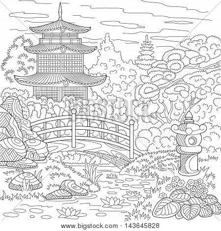 Stylized oriental temple - japanese or chinese tower pagoda. Landscape with trees lake stones flowers. Freehand sketch for adult anti stress coloring book page with doodle and zentangle elements.