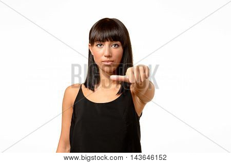 Woman Giving An Equal Thumb Gesture