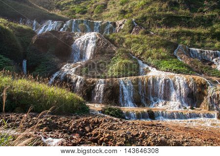 Golden Waterfall is one of the most beautiful waterfall in Taiwan. It is located at Jinguashi township, Taiwan.