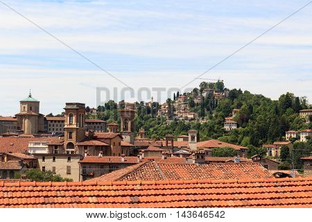 Panorama Of Upper City Citta Alta With Hill San Vigilio In Bergamo, Italy