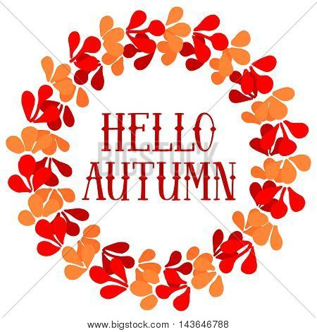 Hello autumn wreath vector card isolated on white