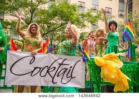 Montreal CA - 14 August 2016: Drag-queens at Montreal Gay Pride Parade.