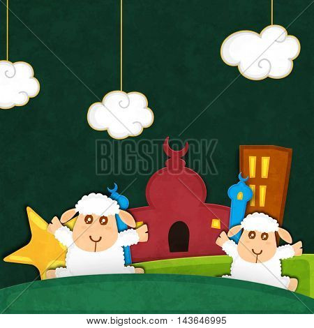 Cute Baby Sheeps in front of Mosque on creative background, Vector illustration for Muslim Community, Festival of Sacrifice, Eid-Al-Adha Mubarak.