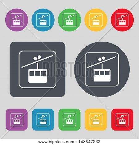 Cable Car Line Icon Sign. A Set Of 12 Colored Buttons. Flat Design. Vector