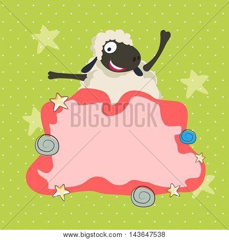 Illustration of a funny Sheep with blank frame, Vector greeting card design for Muslim Community, Festival of Sacrifice, Eid-Al-Adha Mubarak.