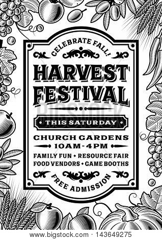Vintage Harvest Festival Poster Black And White. Editable vector illustration in retro woodcut style with clipping mask.
