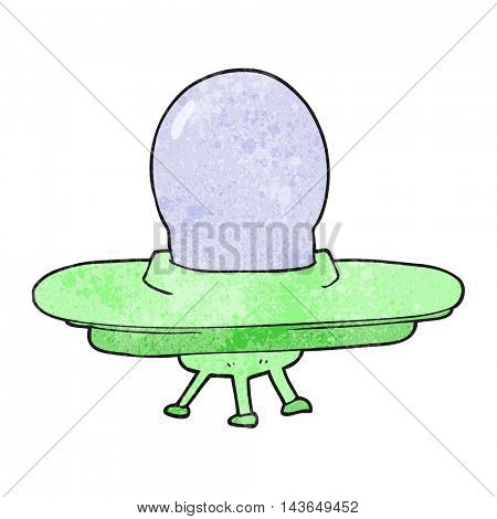 freehand textured cartoon flying saucer