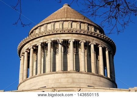 New York City - November 25 2006: Circlar dome with doric columns atop Grant's Tomb on Riverside Drive in upper Manhattan