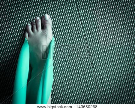 Stretching Exercise With Green Ribbon