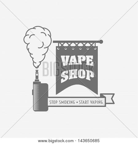 Vape Shop Badge, Logo Or Symbol Design Concept. Vaping Box Mod And Vapor Cloud Vector Illustration I