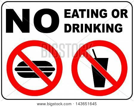 Prohibition Signs for Eating and Drinking General prohibition symbol sticker for public places Vector illustration