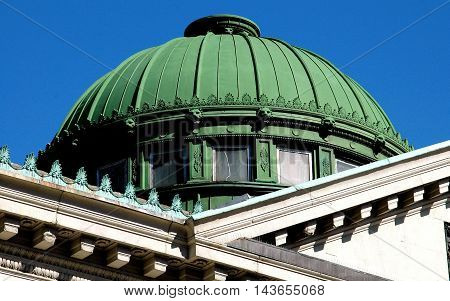 New York City - October 17 2005: The green dome of the former New York Savings Bank at Eighth Avenue and West 14th Street