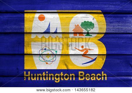 Flag Of Huntington Beach, California, Usa, Painted On Old Wood Plank Background