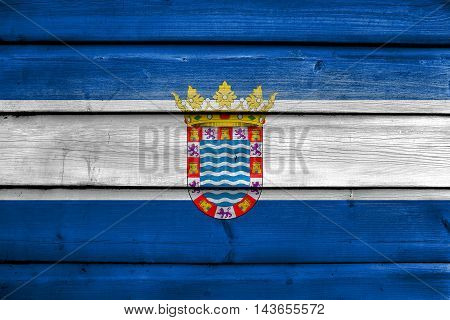 Flag Of Jerez, Andalusia, Spain, Painted On Old Wood Plank Background