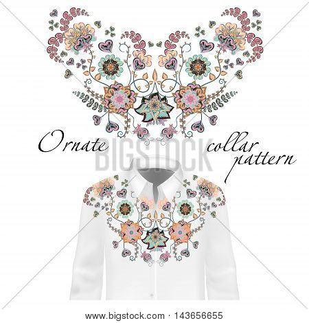 Floral pattern on collar, neck print. Collar pattern on shirt mockup. Abstract hand drawing flowers ornament. Vector illustration. Delicate blue beige pink colors